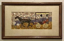 Original Mosaic Art Glass Painting Plaque Horse & Carriage Folk Art FRAMED