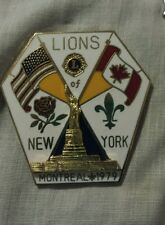 Lions Club Pin New York Statue of Liberty  Montreal 1979  Flags Flower