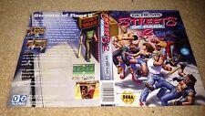 Streets of Rage 2 Original Box Art Only. NO GAME. (Sega Genesis)
