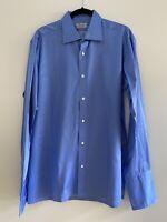 CHARVET Men's 100% Cotton Blue Long Sleeve Dress Shirt |  43|17 | French Cuffs