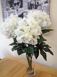 LARGE ARTIFICIAL FLOWERS ARRANGEMENT WHITE HYDRANGEAS IN TALL VASE WITH WATER