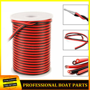 22 Gauge 100' Wire Roll Red Blck Cable Truck Trailer LED Light Wiring Harness