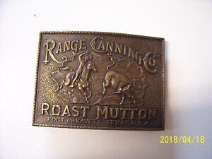 Range Canning co. Roast Mutton Fort Mckvett,Texas belt buckle