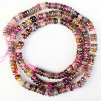 "4x2mm Natural Rainbow Tourmaline Rondelle Loose Bead 15.5"" S85599"