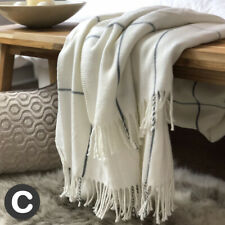 Luxury Ivory Cream Woollen Touch Blanket Throw Checked Fringed Large Sofa / Bed