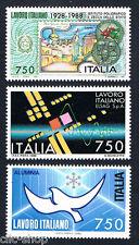 ITALIA 3 FRANCOBOLLI IL LAVORO ITALIANO INDUSTRIA 1988 nuovo**