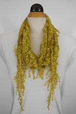 Mesh Lace Triangle Neck Scarf Mustard Color