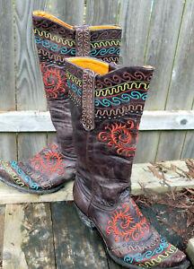 Old Gringo Zarape  Cowboy Boots Distressed Leather 9 1/2 B  EUC