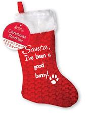 Pet Calze di Natale, paw print, Coniglio Babbo Natale sono stata una buona impronta Bunny