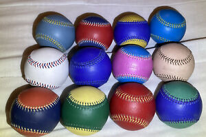 Spinneybeck Leather Baseballs  Souvenir Collectible Lot Of 12 Variety Of Colors.