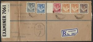 SOUTH AFRICA NORTHERN RHODESIA 1942 WARTIME REGISTERED CENSORED COVER LIVINGSTON