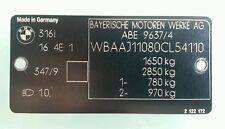 BMW E30 316i Original Typenschild