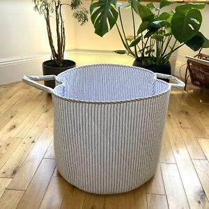 The White Company Very Large Blue White Baby Storage Baskets Fabric VGC 1