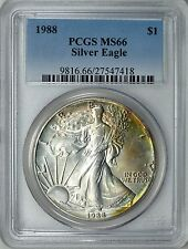 1988 $1 American Silver Eagle PCGS MS-66  (Beautifully Toned) ASE