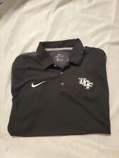 NIKE UCF Knights Dri Fit Polo Shirt Men's Size LARGE gray Black embroidered golf