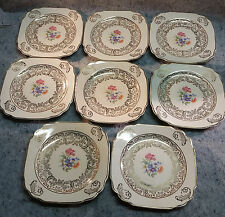 Vintage 8 The Harker Pottery Co.  USA Floral Dessert plates 22 K Gold.....