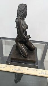 BRONZE NUDE GIRL DANCER SCULPTURE VERY LARGE - MODERN ART STATUE FIGURE (4)