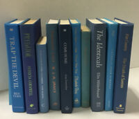 Lot of 10 Hardcover BLUE NAVY AQUA TEAL Shades Books for Staging Prop Decor