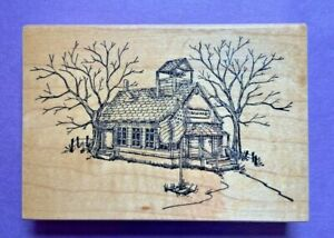 Art Impressions Rubber Stamp Wood Mount Old Country Schoolhouse Flag T-1225 VTG