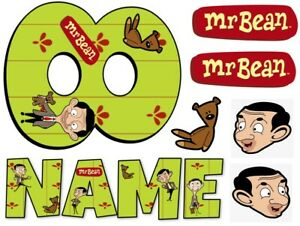 MR BEAN INSPIRED NAME AND NUMBER PERSONALISED CAKE EDIBLE ICING TOPPER