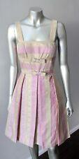 NWOT Anthropolgie Jacquard Brocade pleated Wedding Party Pink Gold Dress Size 4