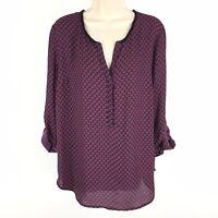 Stitch Fix Daniel Rainn Lorence Henley Blouse Size Large 3/4 Sleeve V-Neck NWT