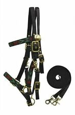 Showman Black Aztec Design Nylon Halter Bridle Combination W/ Reins! New Tack!