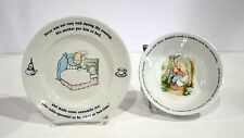 "Peter Rabbit Beatrix Potter Wedgwood 2 pieces 5 1/2"" Bowl 6 7/8"" Plate Sweet Set"