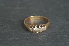 Antiguo 18ct 18k Oro Amarillo Diamante Piedra de cinco en forma de barco gitana estilo anillo A/F