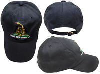 Gadsden Don't Tread on Me Worn Washed Black Yellow Snake Embroidered Cap Hat