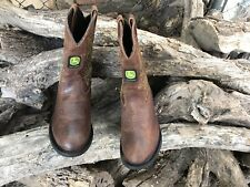 GIRLS JOHN DEERE BOOTS, BROWN, JD3233, YOUTH'S SIZE 6M, PREOWNED.
