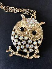OWL Necklace Rhinestone Aurora Borealis Figural Bird Long Gold Tone Chain