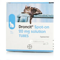 Droncit Spot On Cat Wormer | 2 Tubes Tapeworm Deworming Treatment