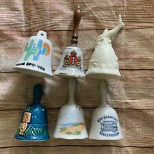 Lot of Six Souvenir Decorative Collectors Hand Bells