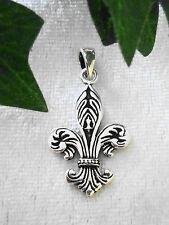 Fleur de Lys Lilie Anhänger Echt Silber 925 Königslilie Wappen