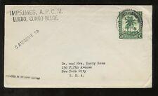 Congo Belga 1944 Tapa categoría 5b a los Estados Unidos con solo su franqueo... luebo