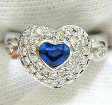 █$3500 1.67CT 14KT NATURAL FINE GEM HEART SAPPHIRE DIAMOND RING 3D DOME LIKE█