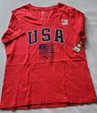 NWT USA OLYMPIC GAMES RED V-NECK T-SHIRT WOMEN SZ L 100% Cotton Made in USA