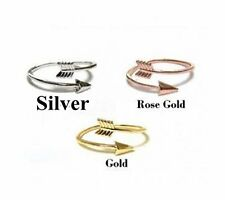 Silver Gold Rose Gold Arrow Heart Midi Ring Above Knuckle Adjustable Wrap