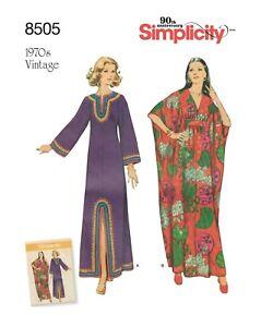 Simplicity 8505 Vintage 70's Sz 10-20 Caftan Dress Maxi Muumuu Retro Pattern