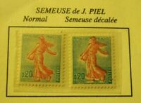 VARIETE 2 TIMBRES SEMEUSE DE J.PIEL N°1233 BCOULEUR ROSE DECALEE  NEUFS INTACTS