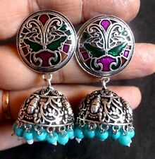 Antique Silver Plated Meena Sky Blue Bead 2'' Indian Party Jhumka Earrings Set