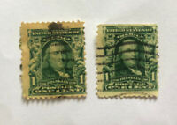 Rare 1902 Benjamin Franklin 1 cent stamps X2 used.