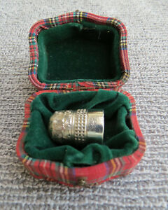 Antique Dorcas Thimble in Tartan Case Victorian size 7