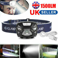 Super Bright Head Torch Headlight LED USB Rechargeable Headlamp Fish Light Torch