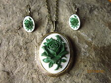 GREEN ROSE CAMEO BRONZE LOCKET AND EARRINGS SET - HANDMADE - UNIQUE