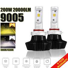 NEW 2x 9005 HB3 200W 20000LM LED Headlight Fog Lamp Dual light Blub 3000K 6500K