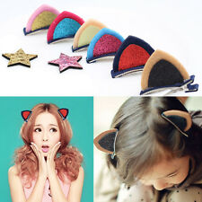 1Pair Women Girls Hair Clips Kids Hair Pin Kitten Cat Ear Clip Hair Accessories