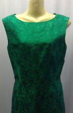 40s/50s Original Bright Emerald Green Dress with Abstract Floral Design