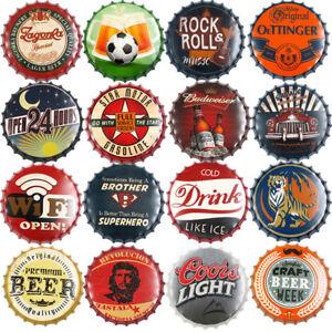 Retro Beer Bottle Caps Sign Bar Top Pub Club Wall Poster Plaque Dorm Home Decor